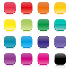 Set of multicolored square buttons, vector illustration.