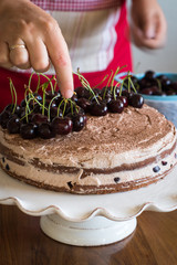 Assembling the Chocolate Sponge Cake with Cream and Cherries