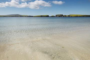 Scottish landscape with beach in Shetland. Scotland. UK