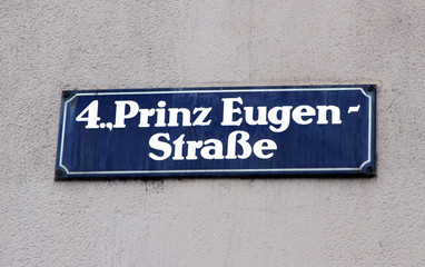 road sign with the name of the street in vienna