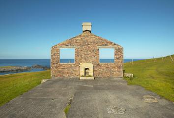 Scottish landscape with abandoned house in Shetland. Scotland