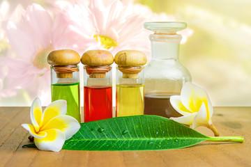 Bottles with basics essential oils form natural