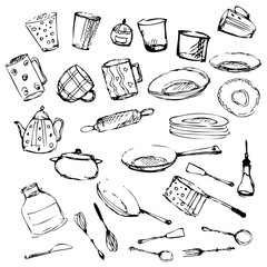 Set of kitchen utensil and collection of cookware