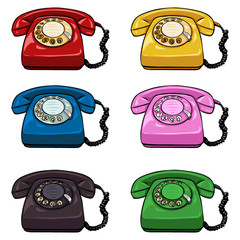 Vector Set of Color Retro Rotary Phones