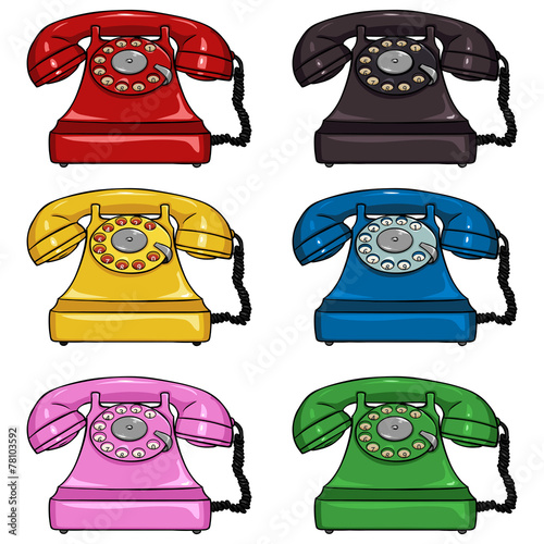 Vector Set of Color Retro Rotary Phones - 78103592
