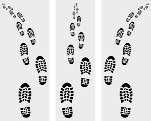 Trail of prints of shoes, vector illustration