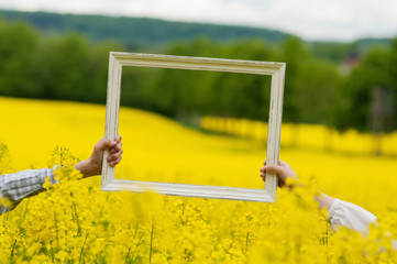 Wooden frame in hands on field of rapeseed.