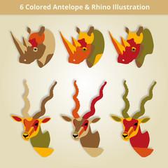 6 Colored Antelope & Rhino Illustration