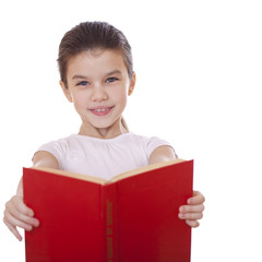 Little girl holding red book