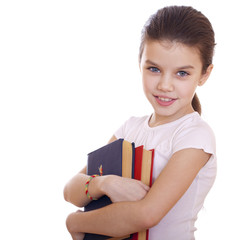 Education, Young beautiful schoolgirl holds textbooks