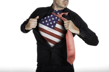 Man with American Flag under Shirt