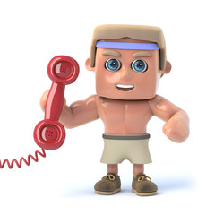 3d Bodybuilder answers the phone