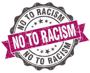 no to racism grunge violet seal isolated on white