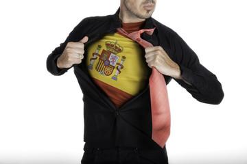 Man with Spanish Flag under Shirt