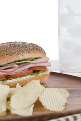 chips sandwich and soda