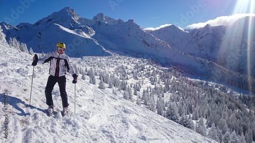 canvas print picture Skifahrer im Hochgebirge