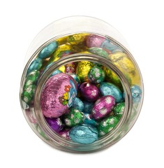 a jar with easter eggs