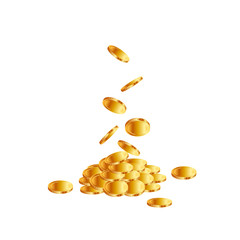 Coins falling on white background.