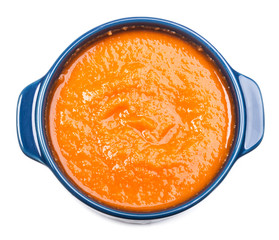 Carrot soup in bowl