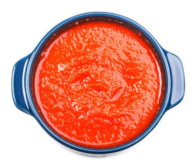 Tomato soup in bowl isolated on white background