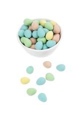 colorful egg shape on white bowl