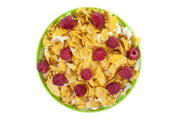corn flakes bowl and raspberries