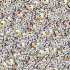 One hundred dollar banknotes background. Money