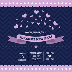 baby shower invitation with hearts in retro style
