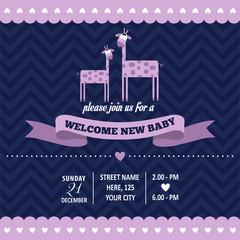 baby shower invitation with giraffe in retro style