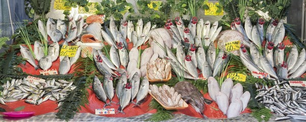 Fresh fish and seafood arrangement displayed on the market