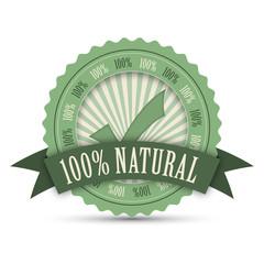 """100% NATURAL"" stamp (vector marketing organic product)"