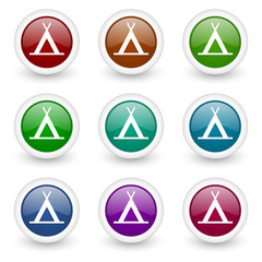 camping web icons colorful vector set