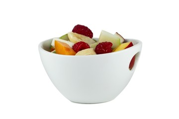 fruit salad in white bowl