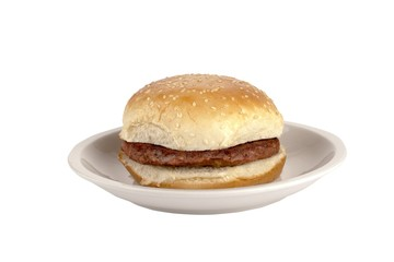 hamburger on a small plate