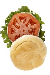 hamburger with chicken patty lettuce and tomato