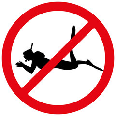 Vector illustration of a prohibition of diving.