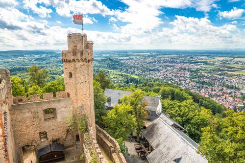 Leinwandbild Motiv Schloss Auerbach Blick über die Hessische Bergstraße