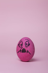 Fuchsia painted egg scared to death vertical