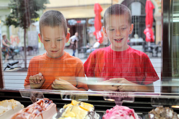 Two young Caucasian boy looking ice cream in pastry shop