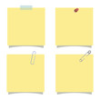 Empty yellow note, isolated post it vector illustration