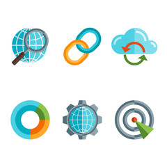 Flat line icons set of website search engine optimization, seo