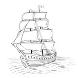 vintage ship with sails and the sea