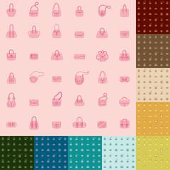 Handbag Icons Seamless Pattern