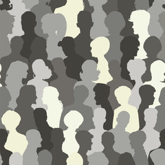 Seamless pattern of people silhouettes