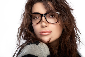 Beautiful Young Woman Wearing Trendy Glasses
