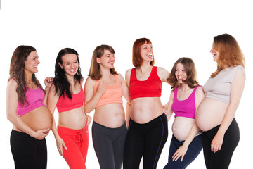 Six young happiness pregnant women, standing, talking and