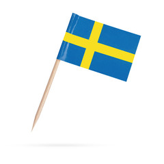 Miniature Flag Sweden. Isolated on white background