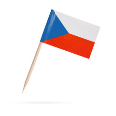Miniature Flag Czechia . Isolated on white background
