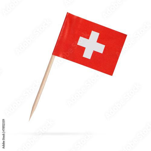 Leinwanddruck Bild Miniature Flag Switzerland. Isolated on white background