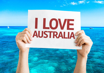I Love Australia card with beach background